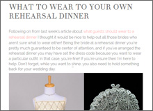 What To Wear To Your Own Rehearsal Dinner